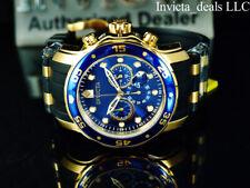 Invicta Mens 48mm Pro Diver Scuba Chronograph Blue Dial 18K Gold IP SS Watch