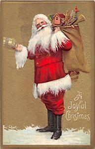H62/ Santa Claus Christmas Postcard c1910 Toy Sack Beard Suit 110