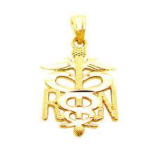10K Yellow Gold Medical Symbol Caduceus Pendant RN Charm Nurse Pendant