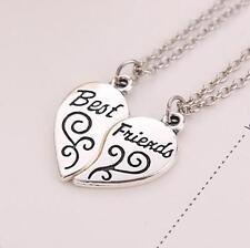 Fashion Gift Silver 2 Pendants Heart BFF Best Friend Friendship Antique Necklace
