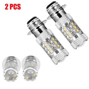 2Pcs 80W H6 White LED Bulbs DRL Fog Light Driving Lamp For Dirt Bike Motorcycle
