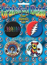 GRATEFUL DEAD 4 x1.5-inch Badge Button Pin Collectors Set NEW MERCHANDISE RARE