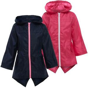 Kids Girls Rain Jacket Mac Cagoule Showerproof Kagool | Childrens Raincoat