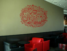 ik1460 Wall Decal Sticker fast food fresh Cola hamburger pizza snack fast food