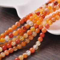 50pcs 6mm Round Natural Stone Loose Gemstone Beads Orange S Agate