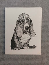 Bassett Hound Pen and Ink Stationary Cards, Note Cards, Greeting Cards.10pk.