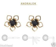 9ct Gold Andralok 8mm Heart Flower Small Sapphire Studs Earrings B'Day GIFT BOX