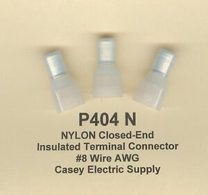25 NYLON Insulated Closed End Terminal Connectors #8 Wire Gauge AWG USA