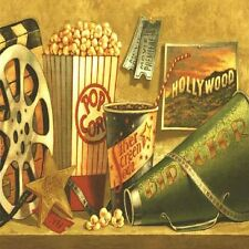 MOVIE TIME POPCORN MOVIE REEL DIRECTOR  SET OF 4 COASTERS RUBBER WITH FABRIC TOP