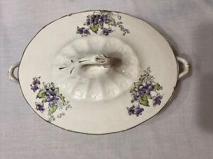 ANTIQUE - LaFayette Porcelain Casserole Dish with Handles Purple Floral Design
