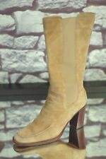 TODS Women's Beige Suede Stud Luxury Heels Boots 6.5 M 37.5