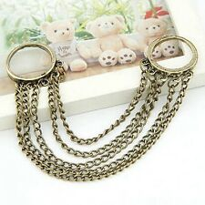 2pcs Retro silver Plated Multilayer Circle Rings Tassel Chain Link Finger Ring