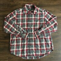 Eddie Bauer Long Sleeve Button Up Shirt Men's Large Red Gray Plaid Cotton