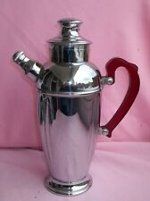 Vintage Art Deco Chromium Cocktail Shaker Server w/ Red Lucite Handle
