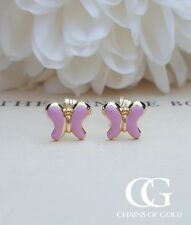 Fine 9ct Yellow Gold Butterfly Stud Earrings for Children & Babies