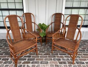 Large Rattan Dining Chairs Bamboo Wicker Bentwood Cane Coastal Tommy Bahama Styl