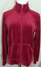 NYL New York Laundry Track Jacket Velour Cranberry Red Zipper Front size Large