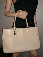 AUTH LAMARTHE LEATHER LARGE TOTE BAG SHOPPER HANDBAG KHAKI TAN BEIGE LIGHT BROWN