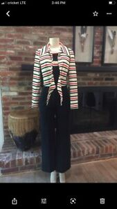 Melissa Lane Womens Jumpsuit Multicolor Stripe Matching Tie Front Top Vintage 10