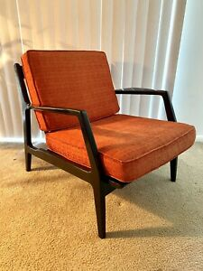 Vintage Kofod Larsen Mid Century Chair in Black Made in Denmark Danish Orange