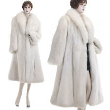 New! Most Beautiful, Luxurious, Glamorous White Pearl Fox Fur A-Line Swing Coat