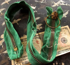 "True Vtg 19.5""  MILITARY CC BRASS Heavy COVERALL ARMY RING Zipper USA GREEN TAPE"