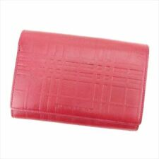 Burberry Wallet Purse Trifold Red leather Woman unisex Authentic Used L2497