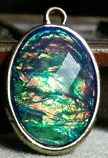 Vintage costume jewelry iridescent oval pendant, blues, greens, other colors