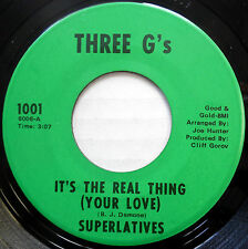 SUPERLATIVES soul funk vg++ THREE G's 45 It's The Real Thing / Forget Him w6459