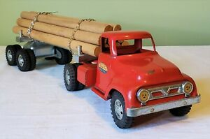 Early Tonka Toys Ford Round Fender Cab LOG HAULER TT TRUCK 50's NICE ORIGINAL