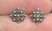 Vintage Sterling Silver 925 & Marcasite Studded Post Pierced Earrings