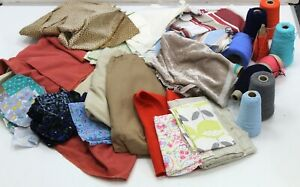 Large Collection of Mixed Patterned Fabrics with Bundles of Thread, Crafting