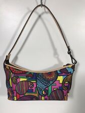 TOUS Purse Nylon With Trim Leather Handbag Paisley Hearts Hippie