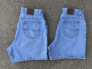 Vintage Lee High Rise Light Wash Denim Shorts Lot 2 Pair 16 32 Waist Distressed