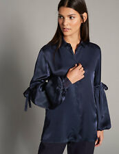 NEW MARKS AND SPENCER AUTOGRAPH NAVY SATIN  BLOUSE / SHIRT / TOP SIZE 16