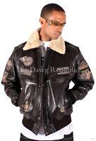 Aviatrix Mens Boys US Air Force Pilot Flying Bomber Leather Jacket Black Brown