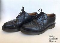 BLACK DR MARTENS BROGUES SIZE 3 VINTAGE DOCS SHOES LACE UP LEATHER FOOTWEAR MOD