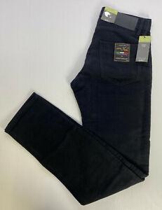 "M&S Mens Black SLIM FIT Soft ITALIAN MOLESKIN Trousers W28"" L33"" Long RRP£39.5"
