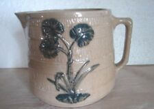 GREAT 1931 RRP Co. Stoneware Banded Milk Pitcher Jug w/Raised BLUE Thistle Decor