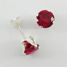 6mm ROUND Ruby Red Post Earrings in SOLID 925 Sterling Silver -NEW - USA Seller!