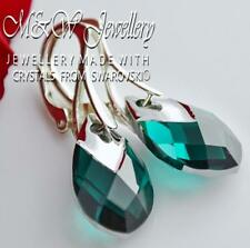 925 Silver Earrings Metallic Cap Pear Crystals from Swarovski® 18mm - EMERALD