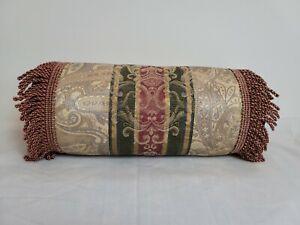 Croscill Dover Manor Damask Stripe Neckroll Pillow Burgundy Green Gold Fringe