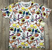 Nickelodeon Cartoons All Over Print Men's T Shirt CatDog Arnold Stimpy All That