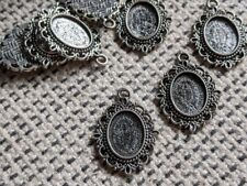 Antique Tibetan Silver Cabochon/Cameo Setting Pendant - To Fit 25x18 or 18x13