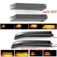 Smoked Lens+Under Side Dynamic LED Side Mirror Marker Lights For F-150 2009-2014