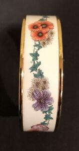 Halcyon Days Enamels England Gold White Flowers Garland Cuff Bangle Bracelet
