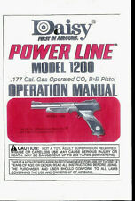 Copy Daisy Power Line Model 1200 CO2 BB Pistol Owner's Manual Plus Parts List