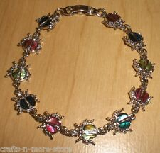 Genuine Paua Sea Shell Ladybug Bracelet - Multi Colored