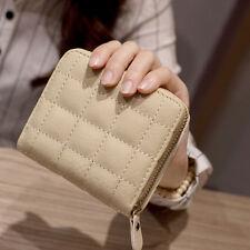 Women Leather Square ZIPPER Purses Lattice Wallet Pouch Mini Bag Card Holders Beige