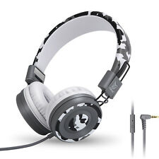 Yomuse C89 Foldable Headphones w/ Mic 3.5mm for Kids Childs Boys Girls Camo Grey